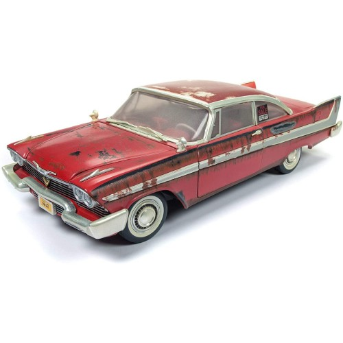 CHRISTINE 1:18 1958 PLYMOUTH FURY DIRTY VERSION DIECAST MODEL W/ WORKING HEADLIGHTS AUTOWORLD - OFFICIAL