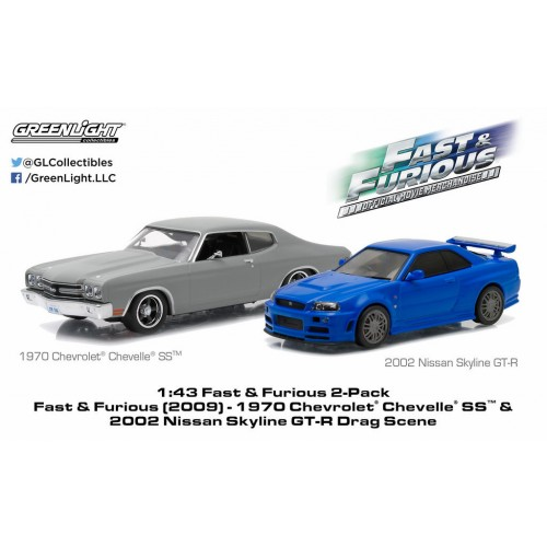 Fast & Furious (2009) 1:43 1970 Chevrolet Chevelle SS & 2006 Nissan Skyline GT-R Greenlight -  Official