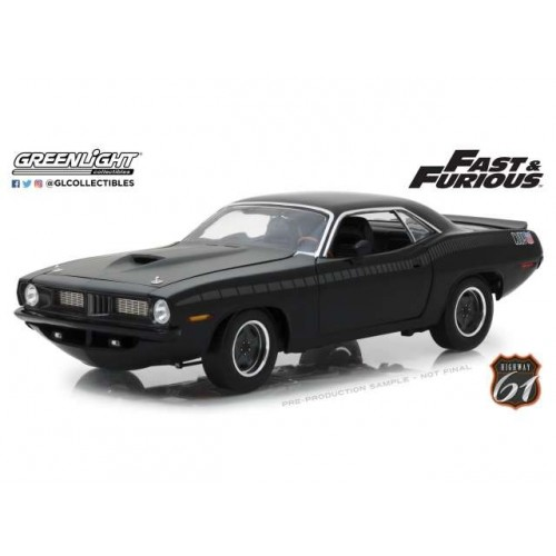 Fast & Furious 1:18 1970 Plymouth Barracuda Die-Cast Vehicle Highway 61 Greenlight - Official