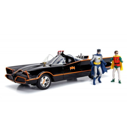 Batman 1:18 1966 Batmobile Light-Up Functions with Batman & Robin Figures Jada Toys - Official