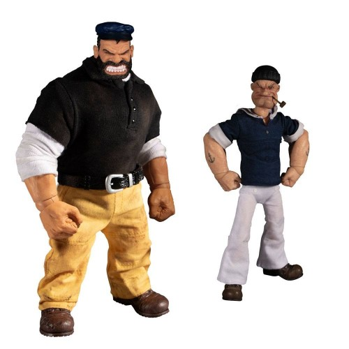 Popeye One:12 Popeye & Bluto Stormy Seas Ahead Action Figures Deluxe Box Set Mezco - Official