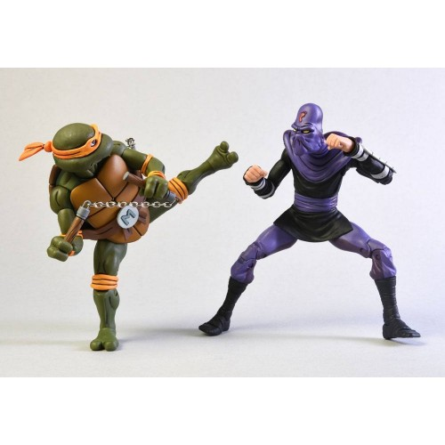 Teenage Mutant Ninja Turtles Michelangelo vs Foot Soldier 2-Pack Action Figure Set Neca - Official